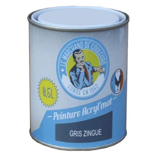 Peinture Acrylique Murs Et Plafonds Mat Gris Zingué 0 5 L