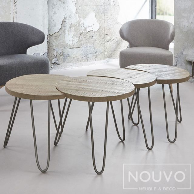 Nouvomeuble Table basse ronde couleur bois Raen 2