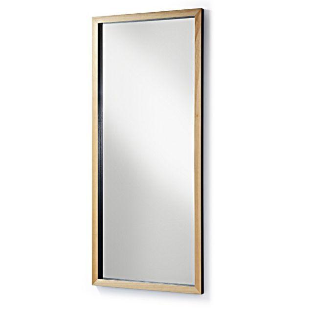 Ma Maison Mes Tendances Miroir 78x178 cadre bois et baguette noire Aric - L 178 x l 78 x H 4