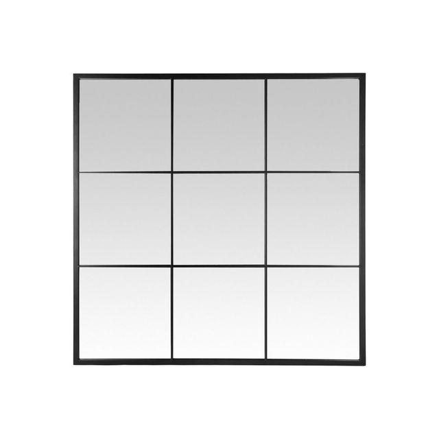 Emde Miroir mural fenêtre carré 9 vues en métal noir 120x120cm Logs