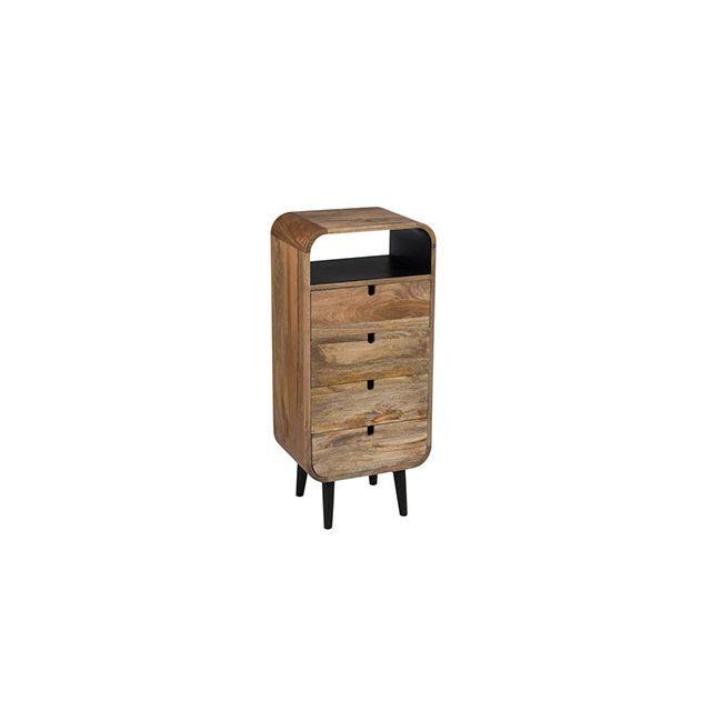 Commode 4 tiroirs 40x30x90cm en bois naturel
