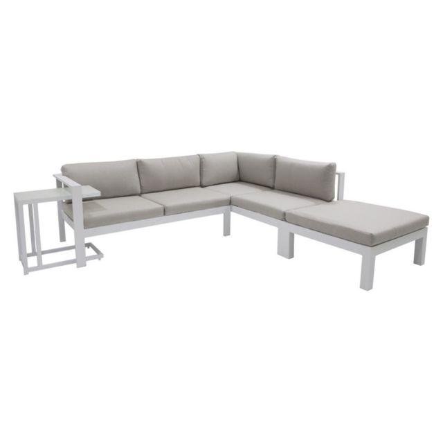 MA MAISON MES TENDANCES Ensemble salon de jardin et table latérale en aluminium avec coussins gris TONDELA - L 147 x l 224 x H 65.50