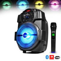 Party Sound - Enceinte Karaoke Mobile sur batterie 180W à Leds - Usb/BLUETOOTH/FM + Micro sans-fil