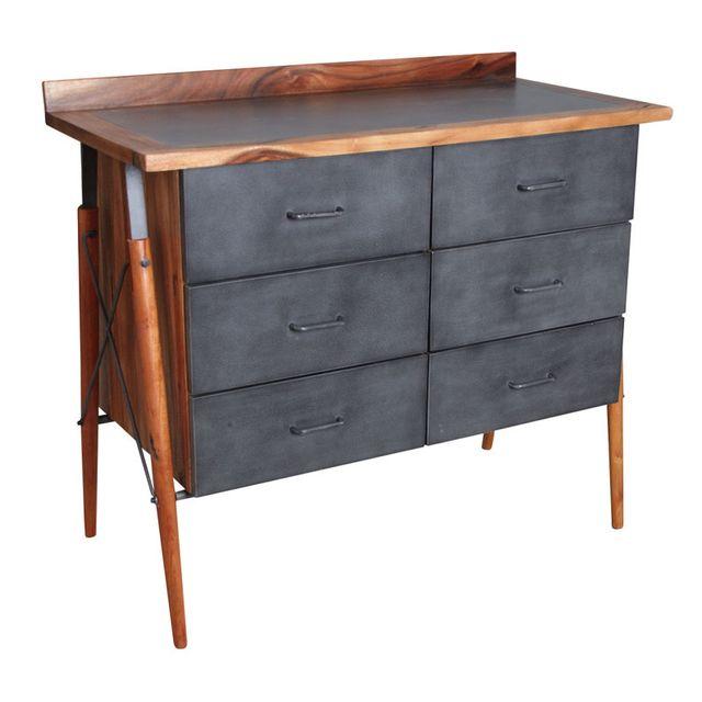 AUBRY GASPARD Commode en bois de suar massif et métal
