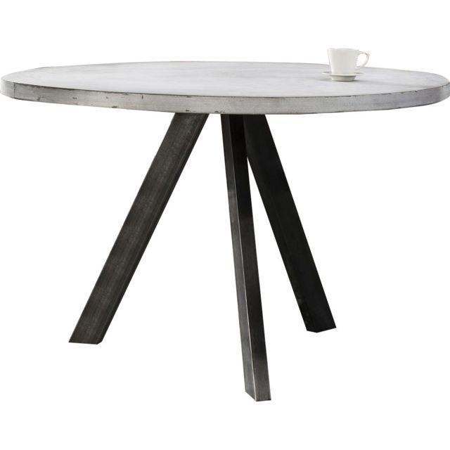 COMFORIUM Table à manger Ø120cm piètement 8x4cm en inox noir