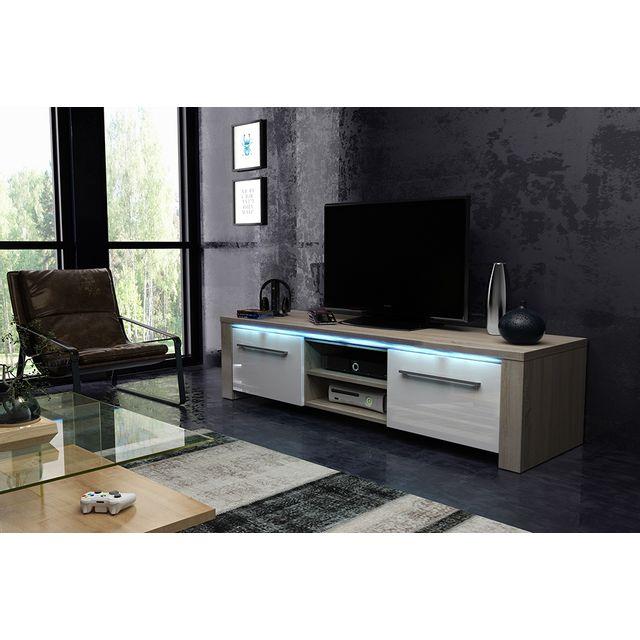 Vivaldi Manhattan 160! Meuble Tv Design coloris chêne sonoma avec blanc brillant. Eclairage à la Led bleue
