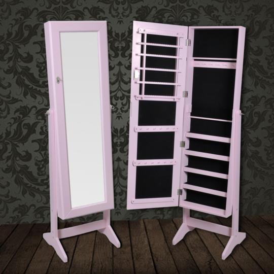 Rocambolesk - Superbe Armoire à Bijoux rangement miroir meuble chambre rose neuf
