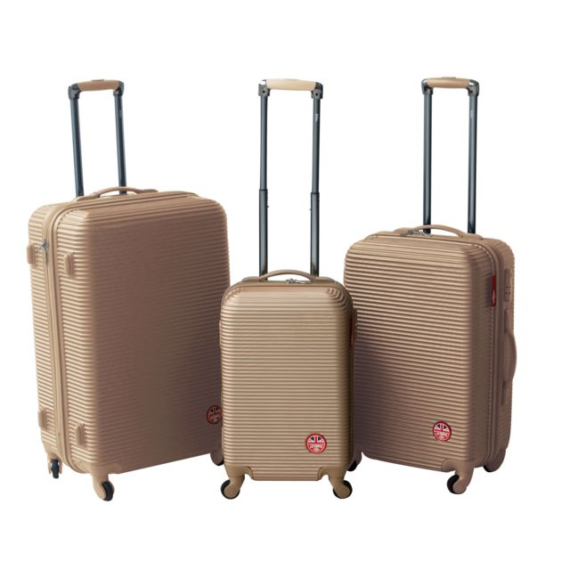 LEE COOPER - Lot de 3 valises rigides IRON - ABS - Doré