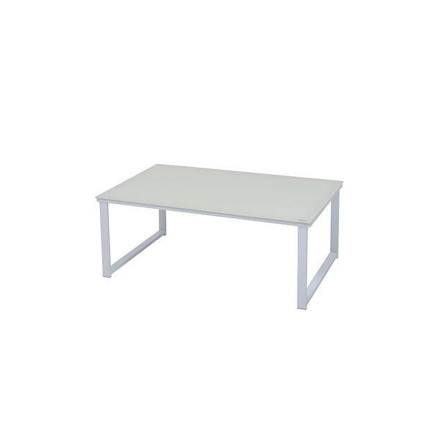 Table basse L80xP50xH32cm en métal et verre blanc