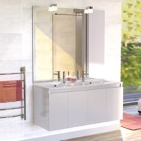 CREAZUR - Meuble salle de bain double vasque PROLINE 120 - Blanc brillant