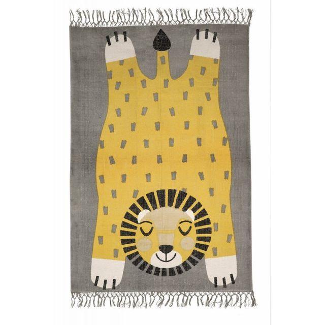 Tapis Baba la panthère décoration chambre enfant garçon par - Couleur -  Jaune, Taille - 100 x 140 cm