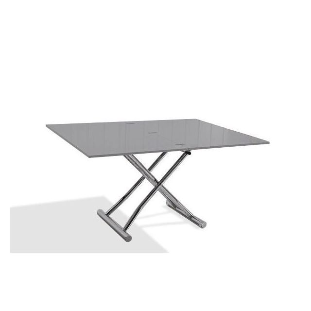 Inside 75 Table basse relevable extensible High and Low gris laqué brillant. Petite taille compacte