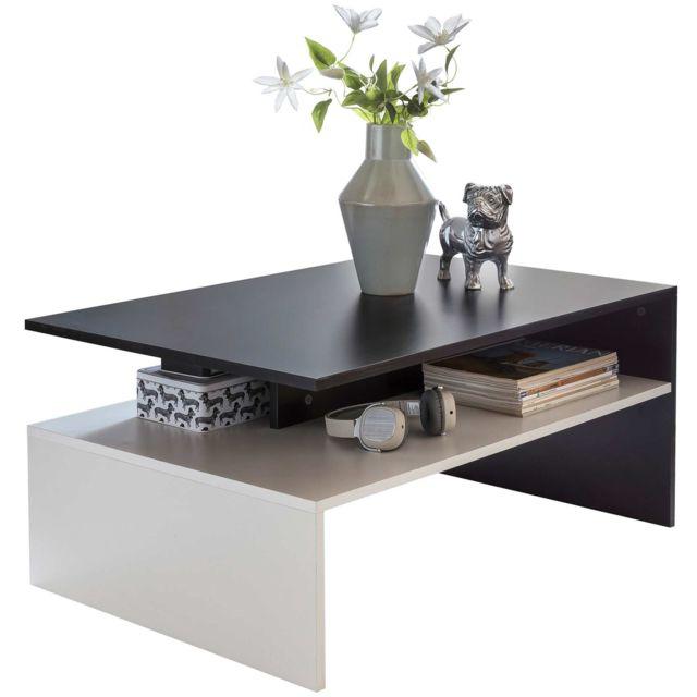 Table Basse Design Avec Etagere En Coloris Noir Et Blanc Design En Deux Parties Avec Espace De Rangement 90 X 43 X 60 Cm Collection C Nebojsa