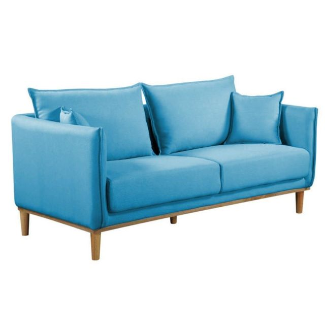 Inside 75 Canapé 3 places style scandinave Lizzano tissu tweed bleu azur