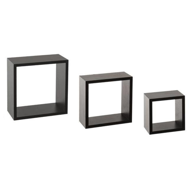 Les Douces Nuits de Maé Kit de 3 étagères murales Cube noir