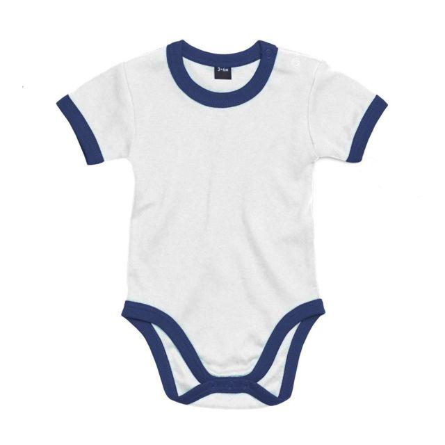 Babybugz - body bébé jambes manches courtes - Bz19 - blanc et bleu marine 04bc4f303db