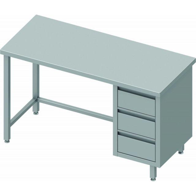 Materiel Chr Pro Table de Travail Inox Avec 3 Tiroirs - Gamme 800 - Stalgast - inox 800x800 800