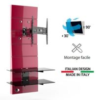 Meliconi - Ghost Design 3000R rouge Meuble Tv support orientable 32 a 63
