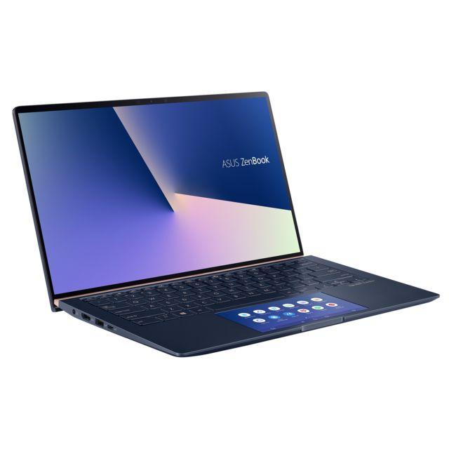 """ASUS ZenBook 14 - UX434FLC-AI301T - Bleu roi Ecran 14"""" Full HD Tactile WideView (dalle brillante) - Autonomie de 14h00 - Epaisseur de 18,2 mm - Poids de 1,26 Kg - Clavier AZERTY chiclet rétroéclairé avec ScreenPad 2.0 - Haut-parleurs Harman/Kardon -"""