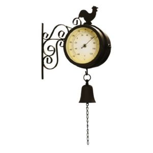 poets 39 corner horloge de gare exterieur avec thermometre coq et cloche 47cm. Black Bedroom Furniture Sets. Home Design Ideas