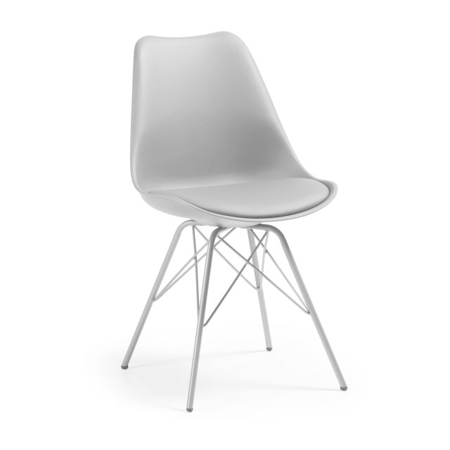 Kavehome Chaise Ralf avec pieds en acier, gris