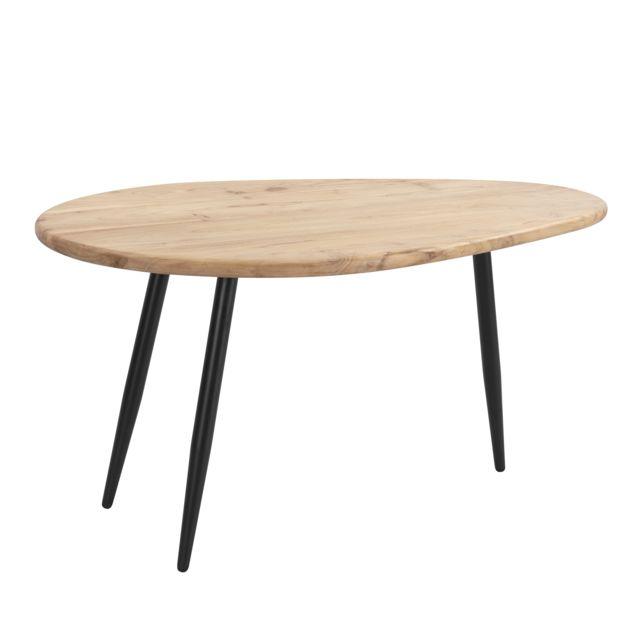 Rendez Vous Deco Table basse Mexico en bois d'acacia et métal
