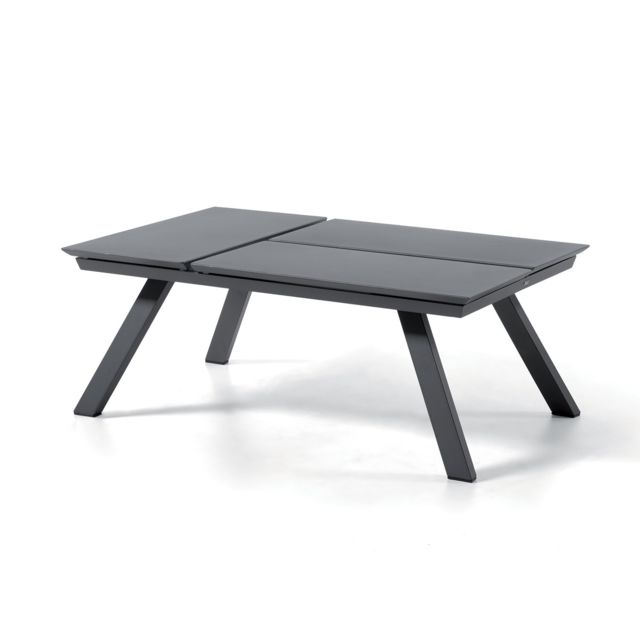Table Basse Alu Anthracite 3 Plateaux Relevables Kiona