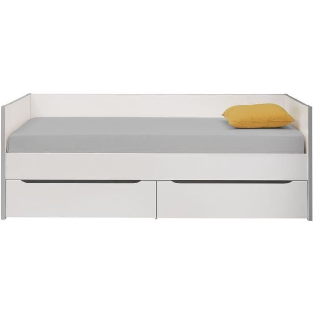 LIT GIGOGNE RYAN Lit enfant banquette 2 tiroirs 90 x 200 cm - Blanc