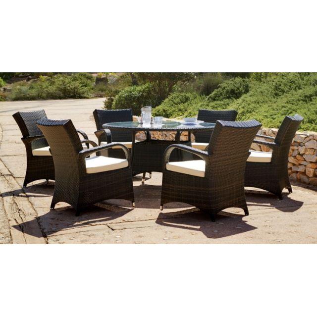 Déco Maison - Ensemble jardin extérieur table ronde 6 fauteuils ...