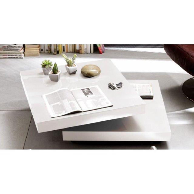 Table basse design Hubic laquée blanc brillant plateau pivotant