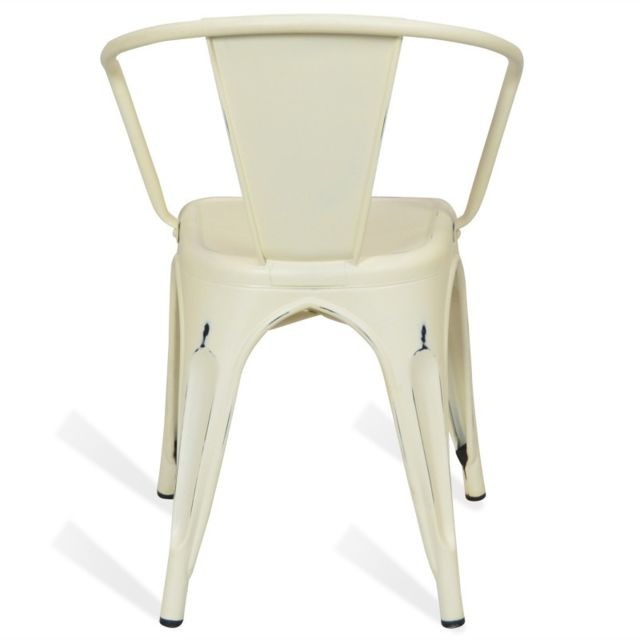Novara Mobili - Chaise en métal Lix Style Vintage Blanche Winter avec accoudoir