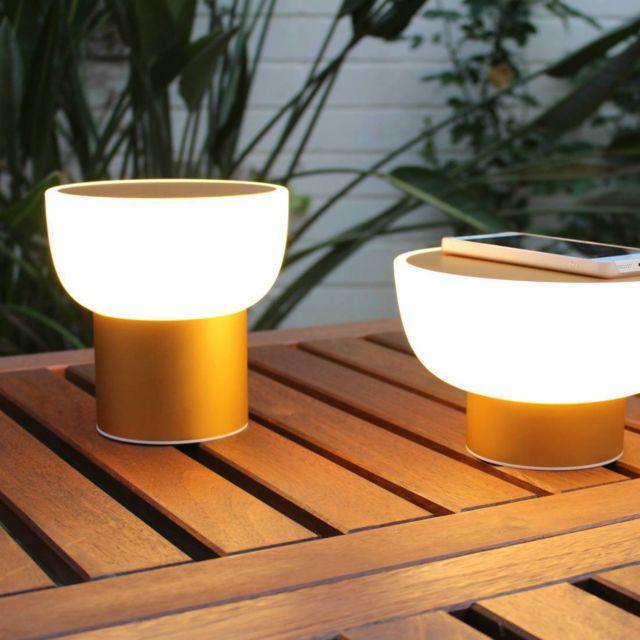Alma Light Patio - Lampe Led d'extérieur rechargeable Or Ø16cm - Lampe à poser designé par Oriol Llahona