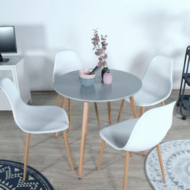 Mobilia Ensemble table à manger ronde et 4 chaises scandinave bois