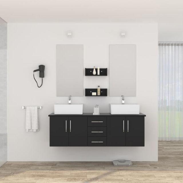 SALLE DE BAIN COMPLETE DIVA Ensemble salle de bain double vasque avec miroir L 150 cm - Noir laqué brillant