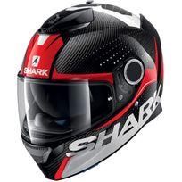Shark - casque moto intégral en Carbone Spartan Carbon Cliff Drw noir blanc rouge brillant Xl