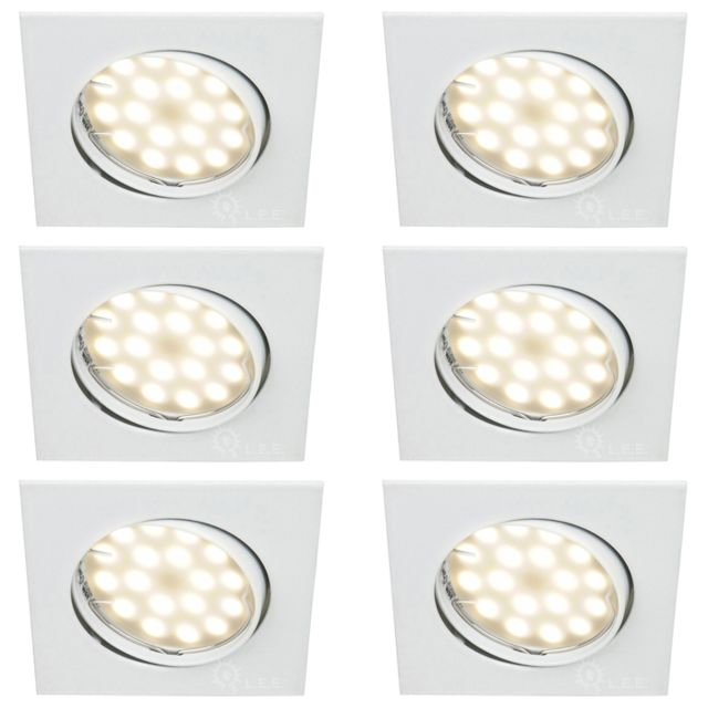 Lampesecoenergie Lot De 6 Spot Encastrable Orientable Led Carre Gu10 230V eq. 50W Blanc Neutre