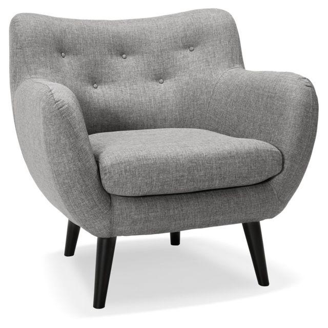Alterego Fauteuil de salon 1 place 'GASPARD Mini' en tissu gris clair
