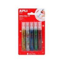 Apli Agipa - Colle Paillettes 5 tubes Glitter Glue 3D