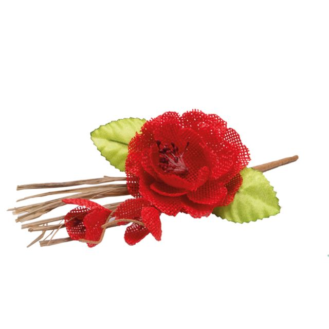 1001DECOTABLE Piquet Pivoine jute rouge