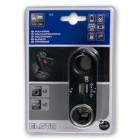Eloto - Multiprise allume-cigare 2 sorties 12v/24v avec 1 emplacement sortie allume-cigare + 2 sorties usb : connexion