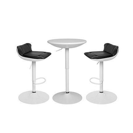 Ensemble table bar plateau tournant blanc + 2 tabourets noir