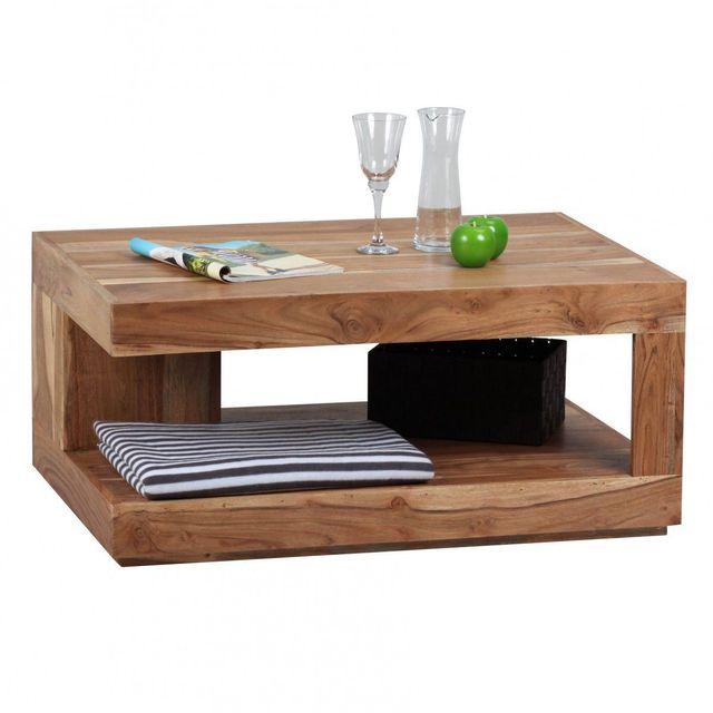 COMFORIUM Table basse 90x60 cm en bois massif acacia