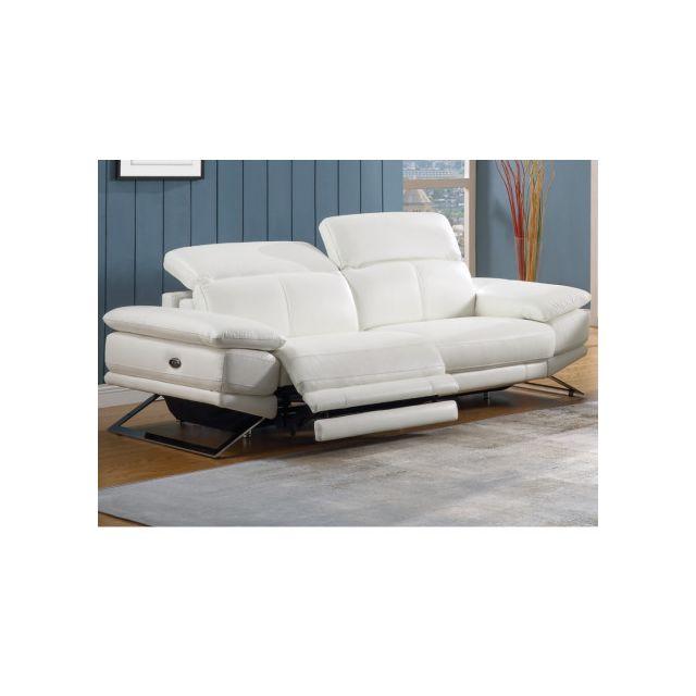 MARQUE GENERIQUE - Canapé 3 places relax électrique en cuir PUNO - Blanc ad1d43df9226