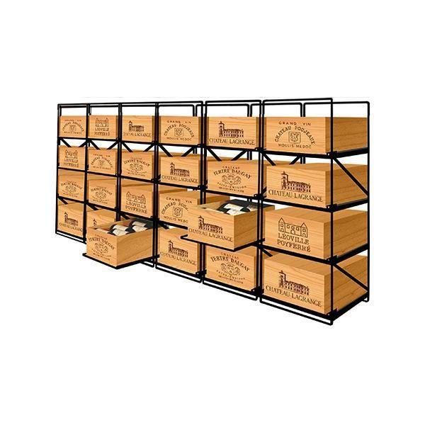Modulorack Racks coulissants pour 24 caisses de vin en Bois soit 288 bouteilles - Aci-mod505H