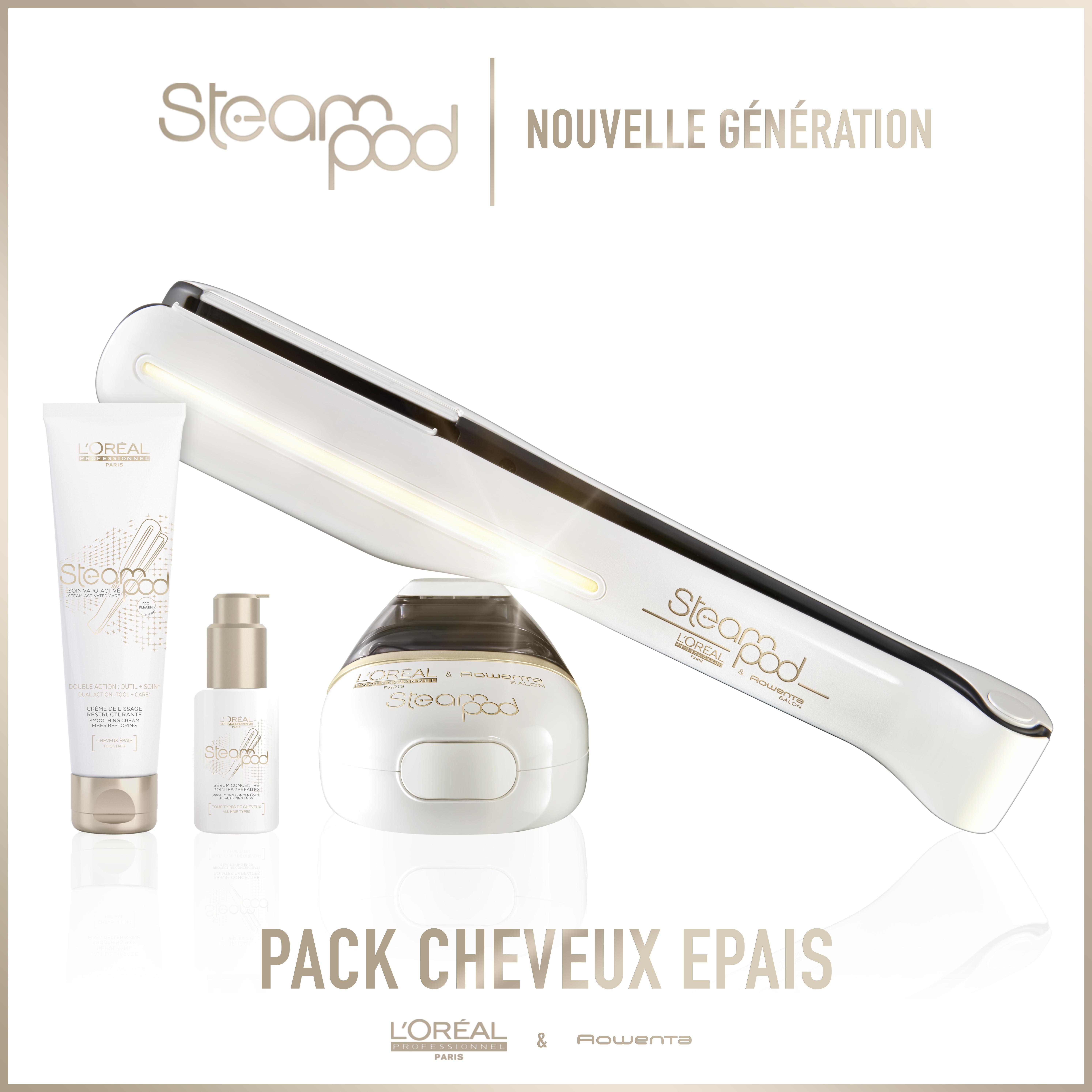 Pack Steampod 2.0 - fer à lisser vapeur nouvelle génération + Sérum + Lait crème de lissage cheveux épais
