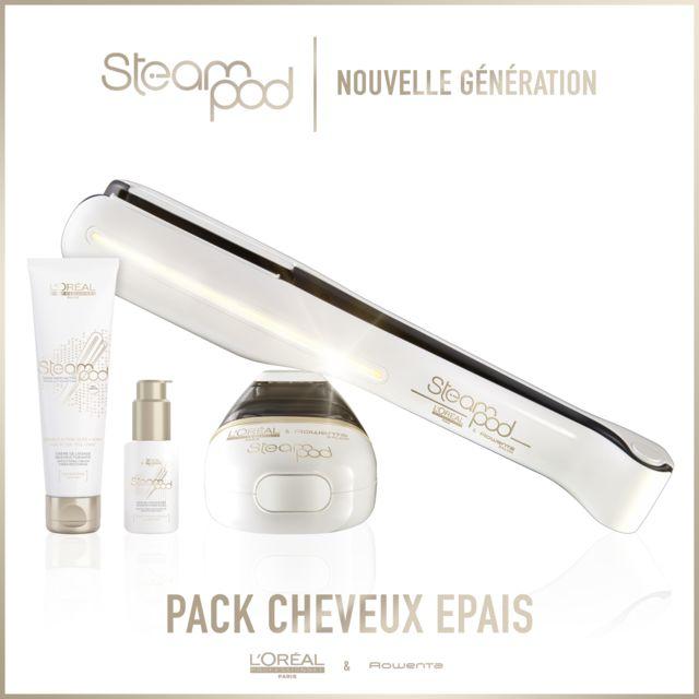 L'OREAL - Pack Steampod 2.0 - fer à lisser vapeur nouvelle génération + Sérum + Lait crème de lissage cheveux épais