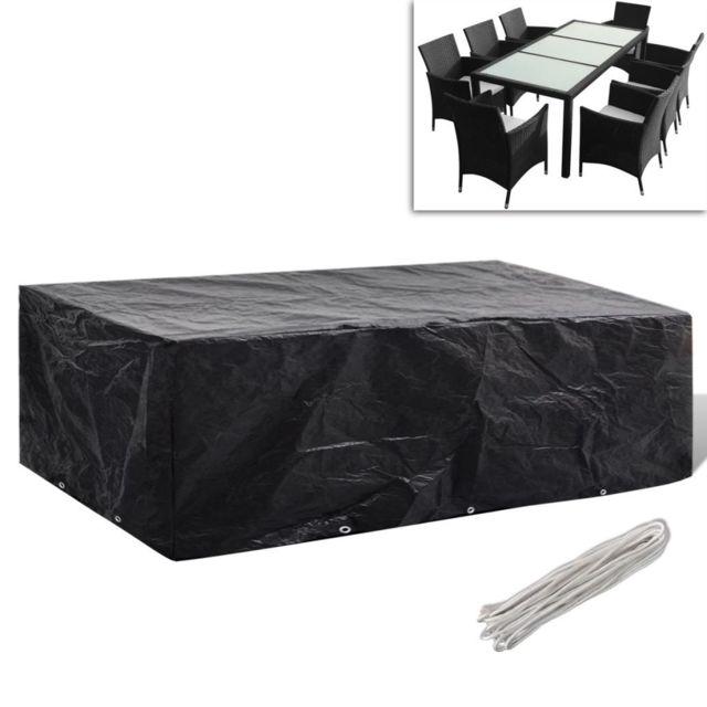 Vidaxl Housse à 10 œillets 300x140cm pour salon de jardin en polyrotin 8 pers | Noir