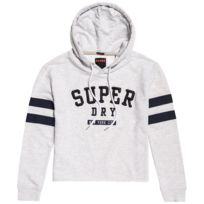 Superdry - Applique Crop Sweat Capuche Femme - Taille Xs - Gris ... 4508aeaeb00a