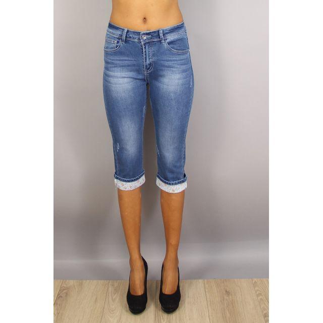 92b8e1e132c X-max - Pantacourt Taille Haute À ImprimÉ Bleu 36 au 44 neuf - pas cher  Achat   Vente Pantalon femme - RueDuCommerce