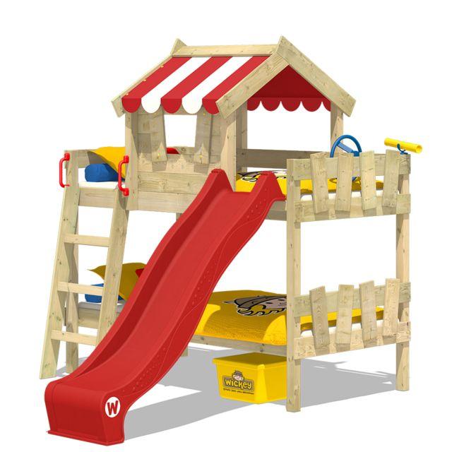 WICKEY Lit superposé Crazy Circus avec toboggan Lit en bois pour enfant